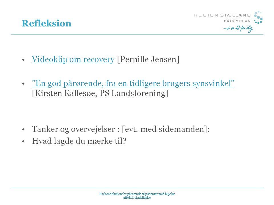Refleksion Videoklip om recovery [Pernille Jensen]